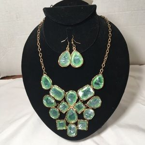 Ice Green Crystals & Gold  Necklace & Earrings Set